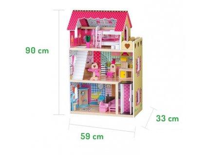 ECOTOYS Dřevěný domeček pro panenky s výtahem ZA-4120