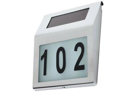 Solární LED svítidlo s číslem domu nerezová ocel MCE172