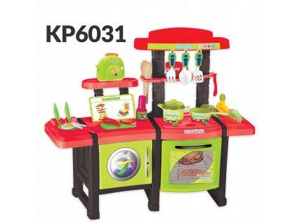 KINDERPLAY Dětská kuchyňka s troubou a toastrem KP6031 zelená a červená
