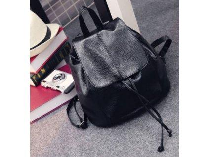 Módní kožený batoh batůžek černý