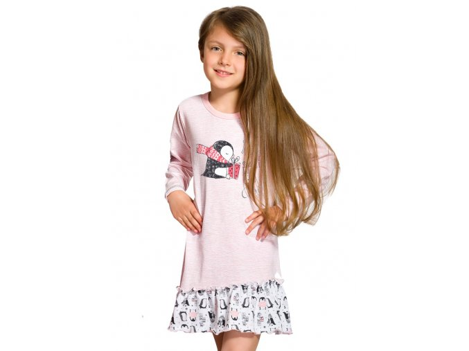 Dívčí noční košile Oda s obrázkem tučňáka Taro