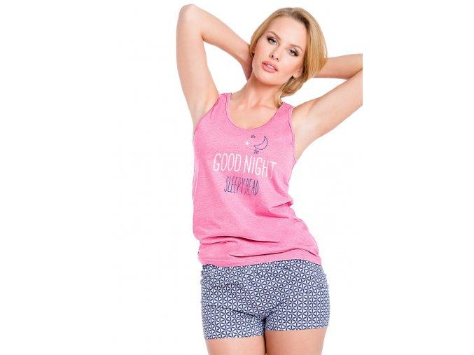 Dámské pyžamo Marina s kraťasy s nápisem Good night Taro