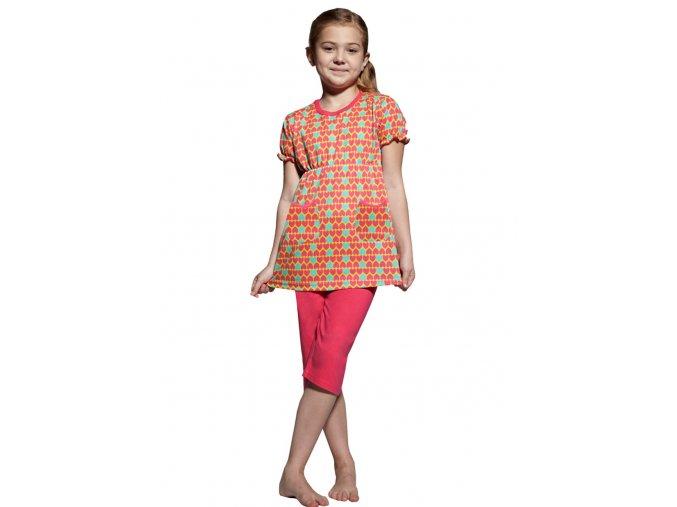 Dívčí pyžamo s capri kalhotami se vzorem srdíček Taro