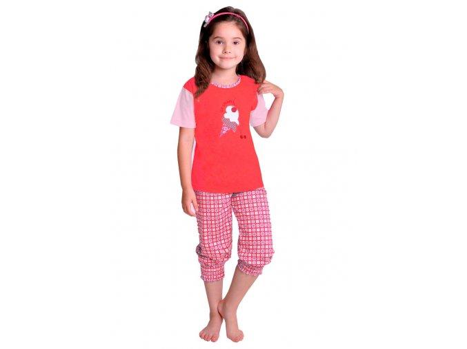 Dívčí pyžamo Ida s obrázkem žirafy a capri kalhotami Taro