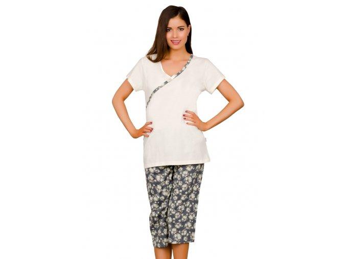 Dámské pyžamo Wiktoria capri se vzorem květů Taro