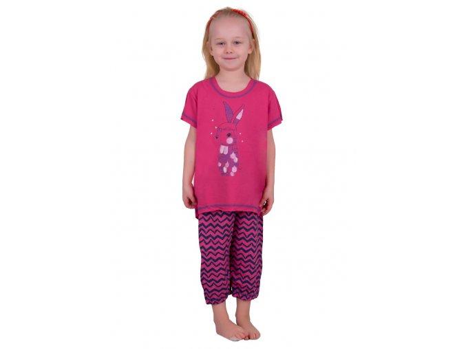 Dívčí pyžamo Daga s obrázkem zajíce a capri kalhotami Taro