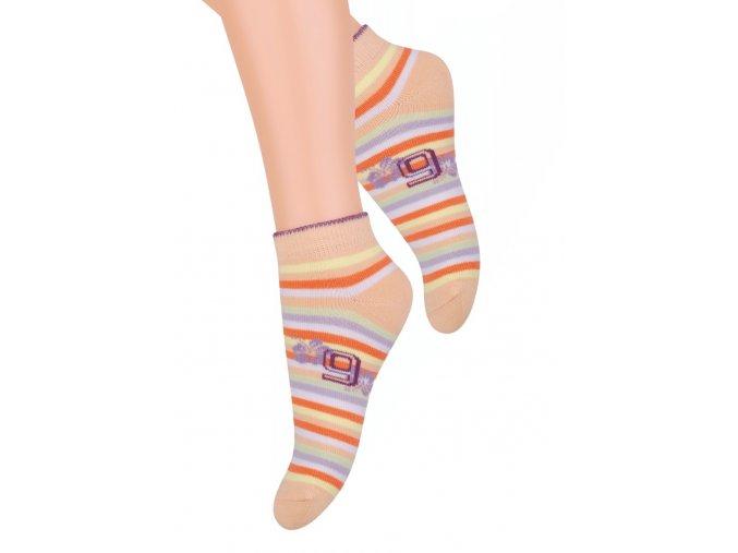 Dívčí kotníkové ponožky se vzorem barevných pruhů RE5 004 STEVEN
