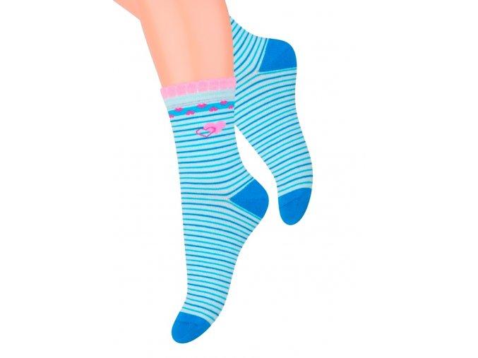 Dívčí klasické ponožky se vzorem srdíček s proužkem 014/132 Steven