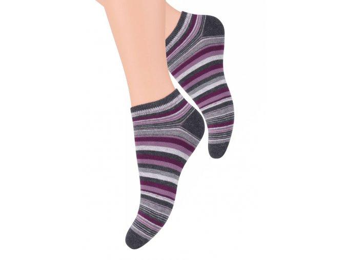Dámské kotníkové ponožky se vzorem proužků 052/31 STEVEN