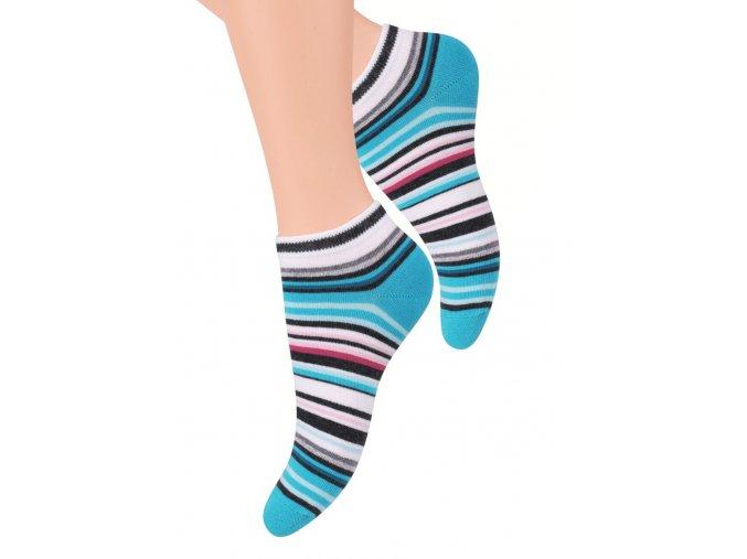 Dámské kotníkové ponožky se vzorem proužků 052/49 STEVEN