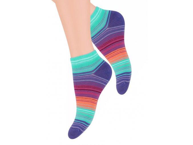 Dámské kotníkové ponožky se vzorem proužků 052/59 STEVEN