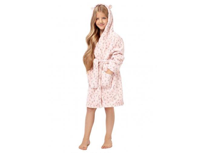 Dívčí soft župan Leopard s kapucí Envie