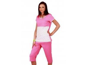 Dámské pyžamo Grochy s vzorem srdíček a capri kalhotami Taro