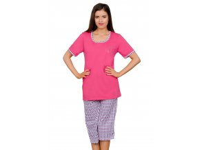 Dámské pyžamo Majka capri se vzorem barevné kostky Taro