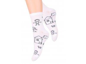Dívčí ponožky klasické se vzorem kresby 014/138 STEVEN