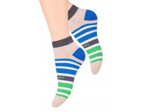 Dámské kotníkové ponožky se vzorem proužků 052/66 STEVEN