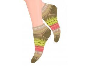 Dámské kotníkové ponožky se vzorem proužků 052/58 STEVEN