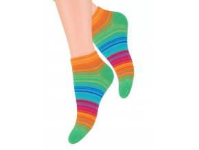 Dámské kotníkové ponožky se vzorem proužků 052/60 STEVEN