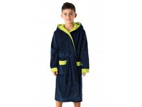 Chlapecký soft župan Delfino lime s kapucí Envie
