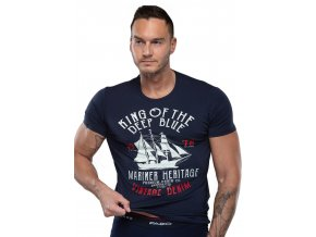 Pánské jednobarevné tričko s nápisem King of the deep blue Fabio