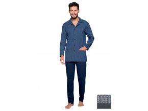 Pánské propínací pyžamo 265 se vzorem puntiku Regina