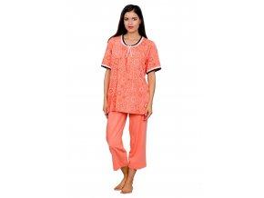 Dámské pyžamo Ula s vzorem kruhů a capri kalhotami  M-Max
