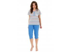 Dámské pyžamo Liliana se vzorem proužku a capri kalhotami M-max