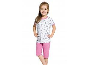 Dívčí pyžamo Amelia s capri kalhotami se vzorem proužku Taro
