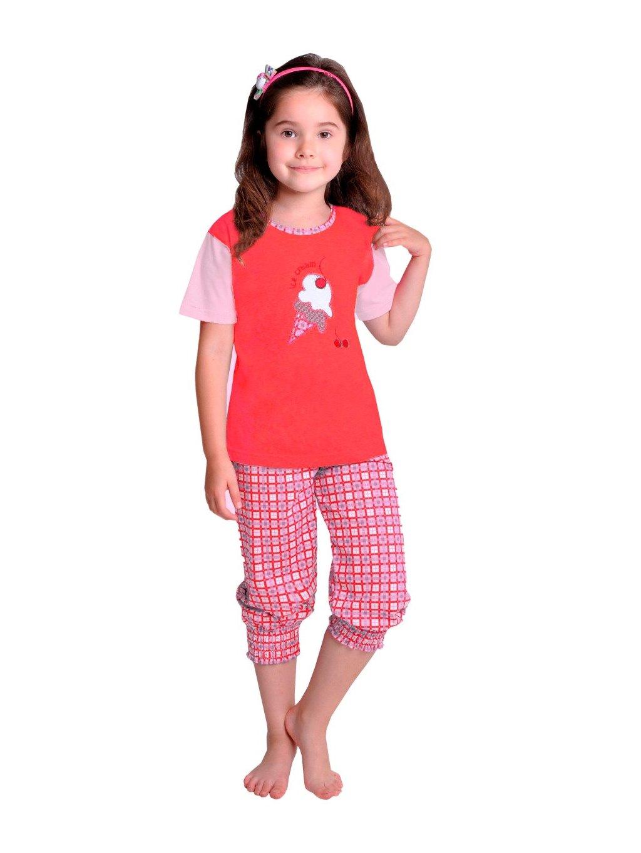 Dievčenské pyžamo Ida s obrázkom žirafy a capri nohavicami Taro