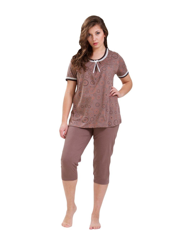 Dámske pyžamo Ula s vzorom kruhov a capri nohavicami M-Max