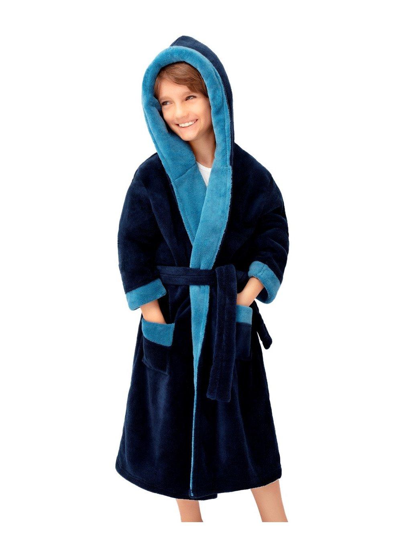 Chlapčenský soft dvojfarebný župan Delfino blue Envie