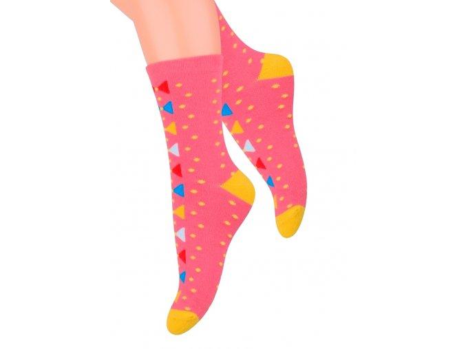 Dievčenské klasické ponožky so vzorom bodiek 014/127 Steven