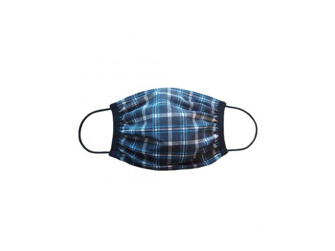 Rúško dvojité s vreckom vzor Kostka čierno-modrá