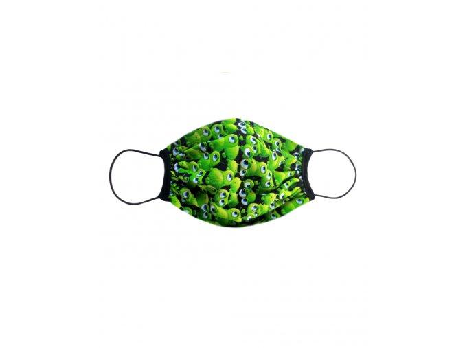 Rúško dvojité s vreckom vzor Zelené bacily