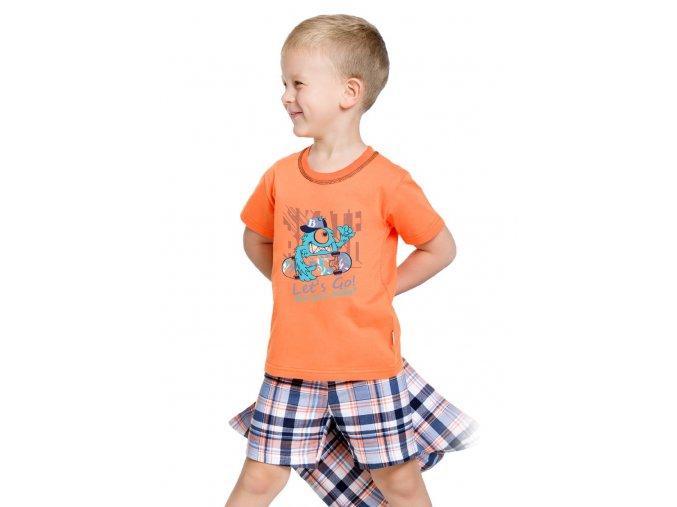 Chlapčenské pyžamo Damian s kraťasy a obrázkom príšerky Taro