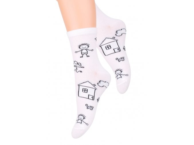 Dievčenské ponožky klasickej so vzorom kresby 014/16 STEVEN