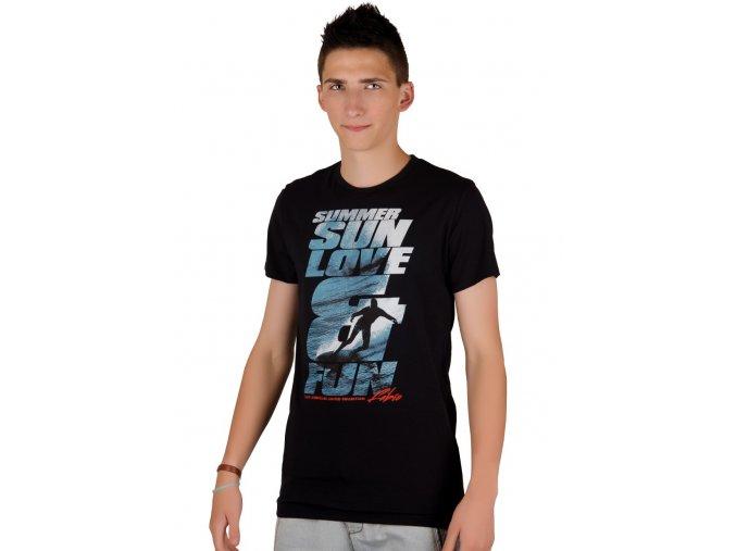 Pánske jednofarebné tričko s obrázkom surfingu Fabio