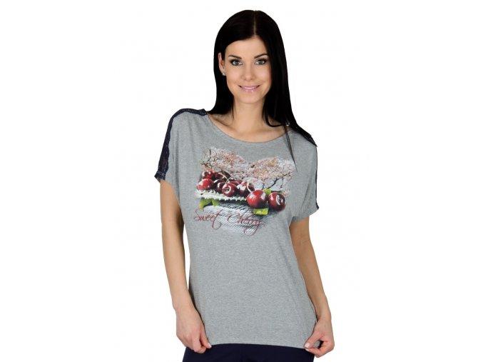 Dámske tričko s jemnou čipkou Cherry 56 / 2-6 / A39 Fabio