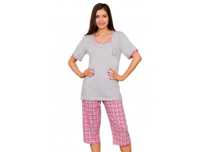 Dámske pyžamo Majka capri so vzorom farebné kocky Taro