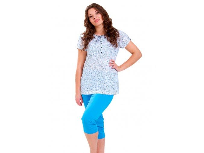 Dámske pyžamo Anna so vzorom kvetov a capri nohavicami M-Max