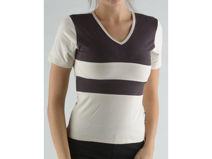 Tričko s krátkym rukávom kombinácie farieb a paspula 98003P