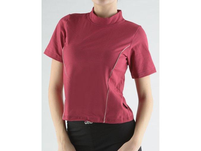 Tričko so stojačikom, krátkym rukávom, zdobenie paspulami 98005P