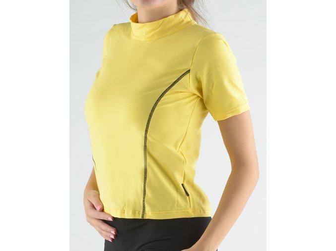 Tričko s krátkym rukávom a so stojačikom zdobené kontrastným prešívaním 98019P