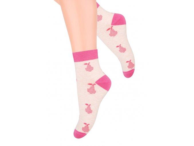 Dievčenské členkové ponožky so vzorom hrušiek 004/8 STEVEN