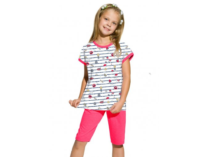Dievčenské pyžamo Amelia s capri nohavicami so vzorom prúžku Taro