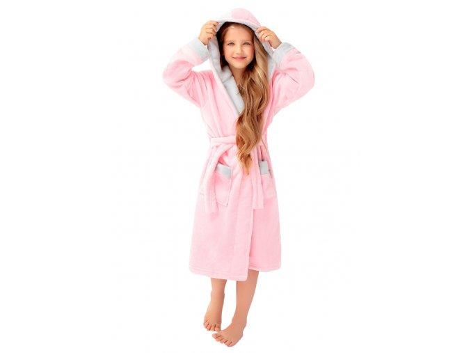 Dievčenské soft župan Delfino pink s kapucňou Envie