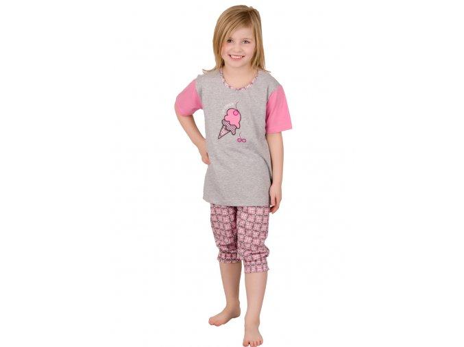 Dievčenské pyžamo Ida s obrázkom zmrzliny a capri nohavicami Taro