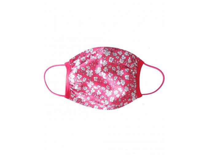 Rúško dvojité s vreckom vzor Kvety pink