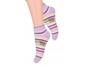 Dievčenské členkové ponožky so vzorom farebných pruhov RE8 004 STEVEN