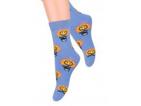 Dievčenské klasické ponožky so vzorom kvetín 014/158 STEVEN